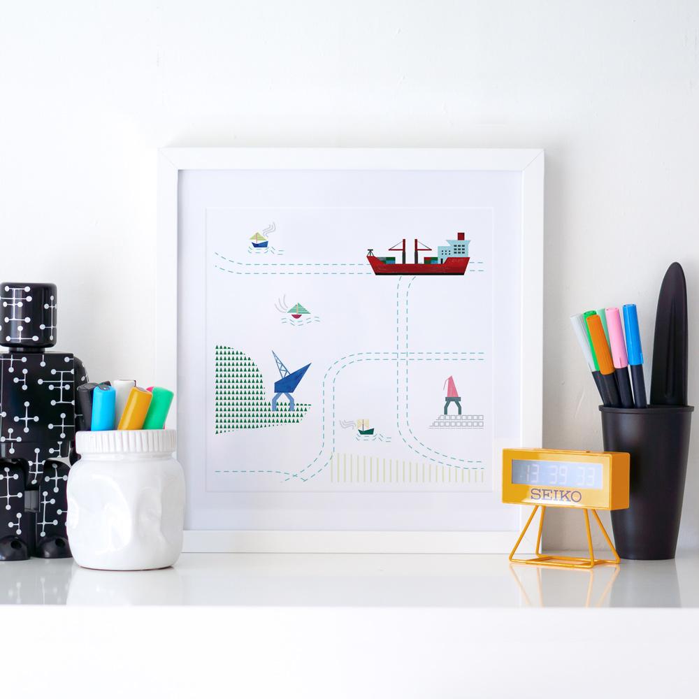 CARTE PORTUAIRE 03 ~ Digital prints 29x29 cm